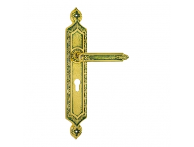 1010/1030 Amethyst Emerald Class Door Handle on Plate Frosio Bortolo Made in Italy of Islamic Architecture