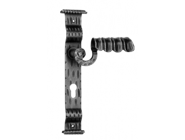 1072 Galbusera Door Handle with Plate Artistic Wrought Iron