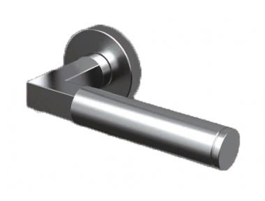 Pair of Ottawa Tropex Door Handles Satin Stainless Steel Round or Oval Rose