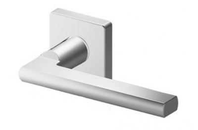 Pair of Athens Tropex Door Handles Satin Steel Square or Rectangular Rose