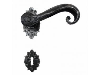 2002 Artistic Wrought Iron Door Lever Handle on Rose Lorenz Ferart