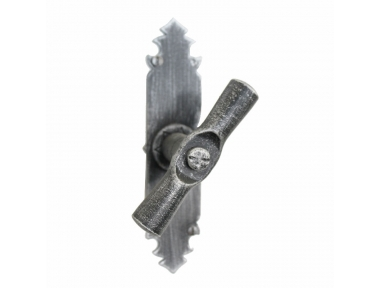 2122 Cylindrical Wrought Iron Window Handle with Plate Lorenz Ferart