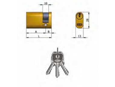 Half cylinder Omec Brass Oval 5 Pins 43mm L 33/10