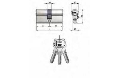 Double Cylinder Omec Brass Nickel Shaped 6 Pins 70mm L 30/40