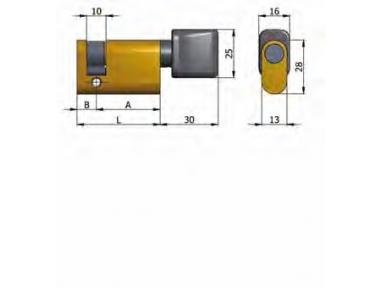 Half cylinder Omec with Knob Brass Oval 40mm L 30/10