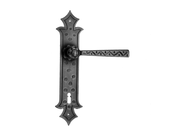 501 Galbusera Door Handle with Plate Artistic Wrought Iron