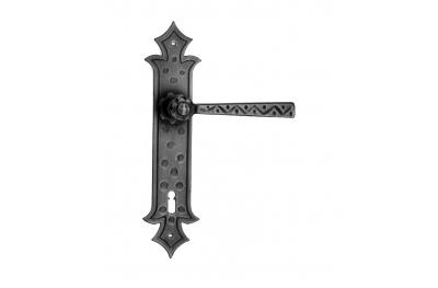 501 Galbusera Door Handle with Plate Artistic Wrought Iron
