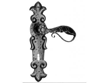 508 Galbusera Door Handle with Plate Artistic Wrought Iron