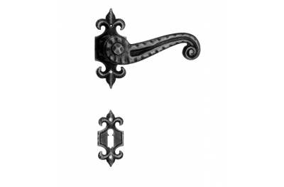 901 Galbusera Door Handle with Rosette and Escutcheon Artistic Wrought Iron