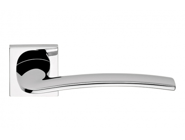 Ala Polished Chrome Door Handle with Rose Modern Design Made in Italy by Linea Calì