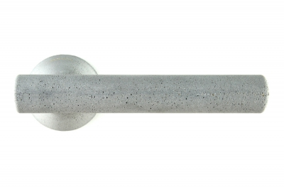 Juno Cement Door Handle on Rosette Color Ash by Designer Alessandro Dubini for Mandelli