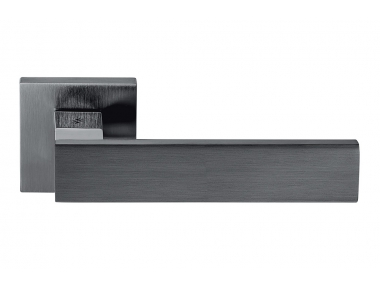 Alba Graphite Door Handle on Rosette With Straight and Curved Lines by Colombo Design