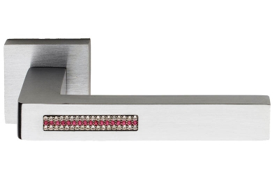 Barletta Crystal 2 Pink Door Handle on Square Rosette Fashion Line PFS Pasini