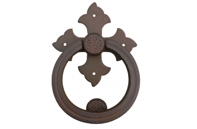 Cross Door Knocker with Ring Galbusera Wrought Iron