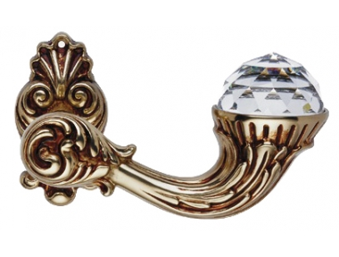 Brillant Crystal French Gold Door Handle on Rosette Linea Calì Vintage