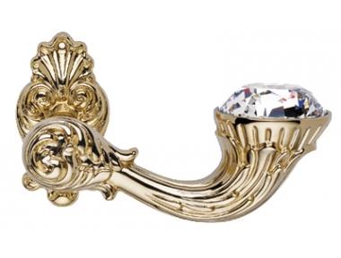Brillant Diamond Gold Plated Door Handle on Rosette Linea Calì Vintage
