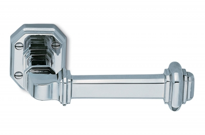 Busiri Chrome Door Handle on Rosette of Italian Artistic Tradition by Antologhia