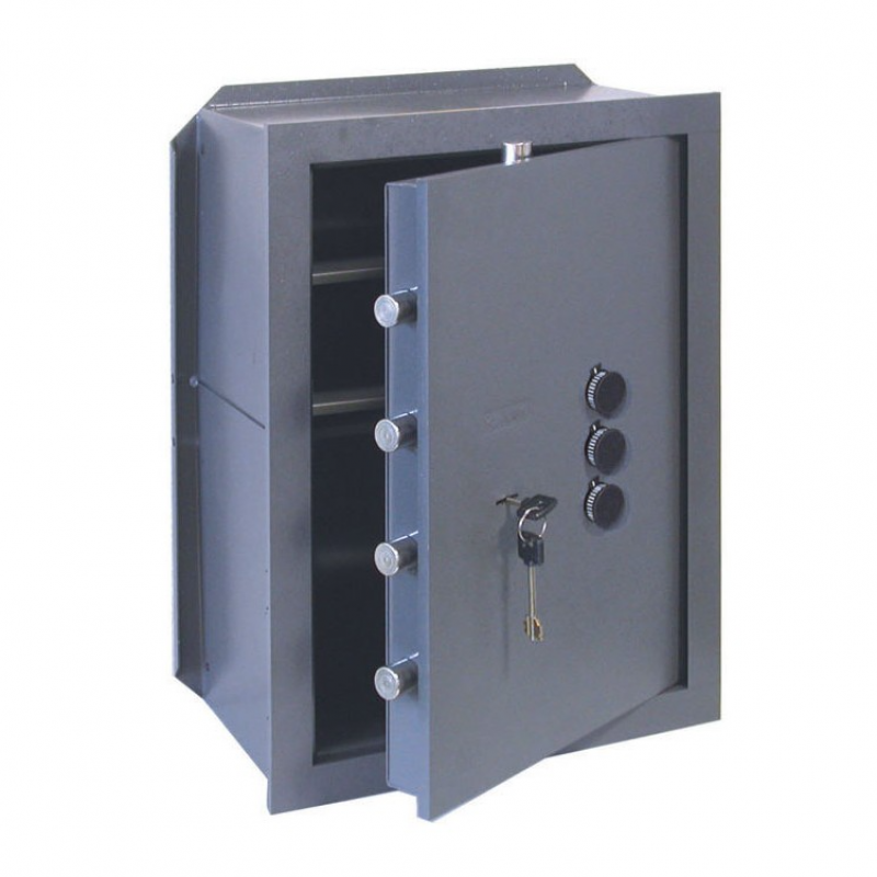 Wall Safe with Key and Combiner 3 Knobs Cisa Various Sizes