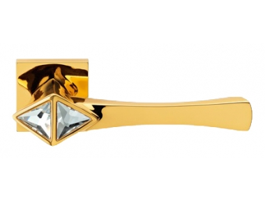 Cometa Gold Plated Door Handle on Rosette Linea Calì Crystal