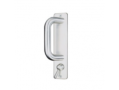 pba 2225 Fixed Pull Handle on Rectangular Plate in Stainless Steel