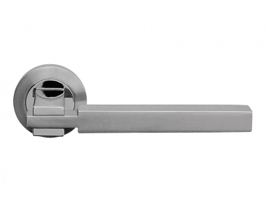 Elle Satin Chrome and Polished Chrome Door Handle With Rose of Linear Design by Linea Calì