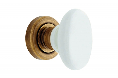 Flavia 685 RO 102 OG Door Knob by Linea Calì Bronzed Brass with White Porcelain Handle