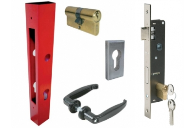 Basic Kit for Gates Composed of Tube Lock Handles Cylinder Plates IBFM