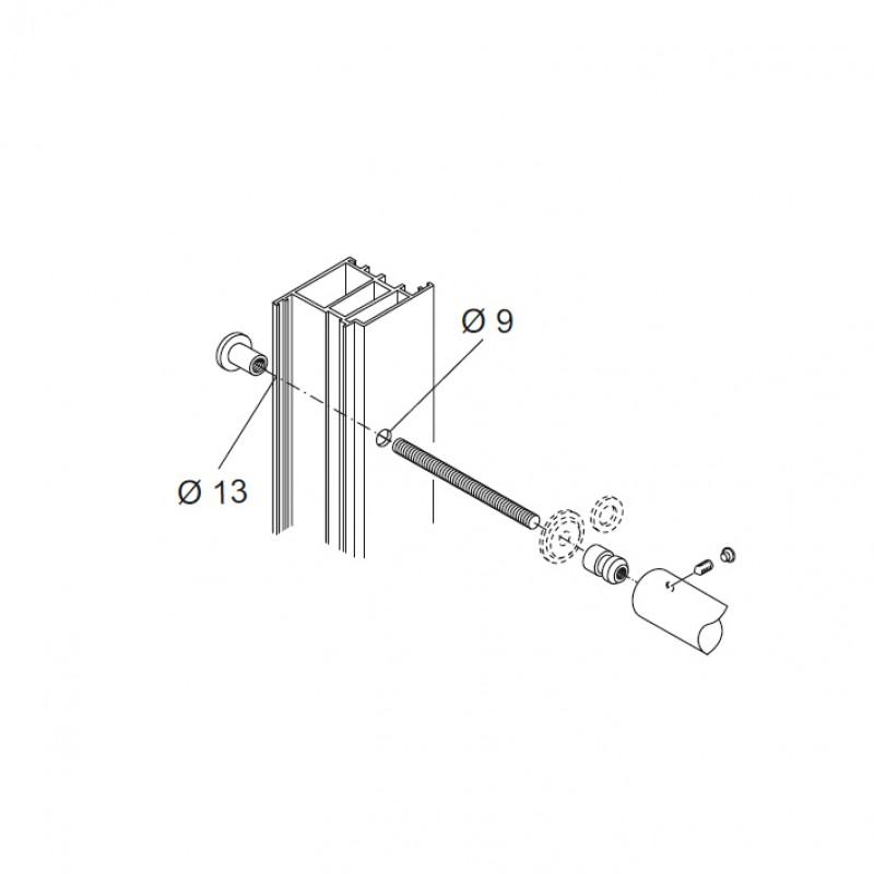 Fixing Kit pba 810 for Pair of Pull Handles for Glass Doors