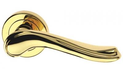 Laura Liscia Classique PFS Pasini Brass Door Handle with Rose and Escutcheon