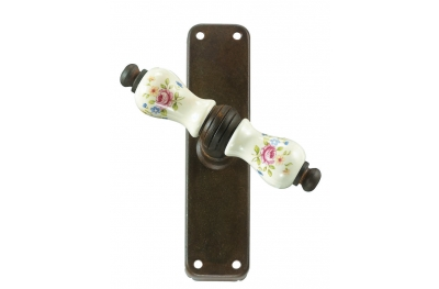 Paris Galbusera Cremone Bolt Window Handle with Plate Porcelain and Wrought Iron