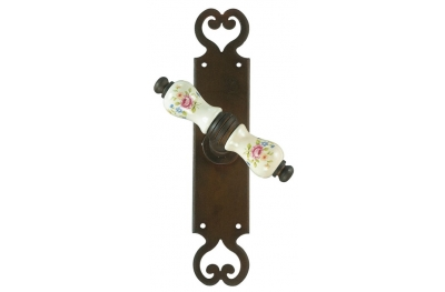 Paris Galbusera Window Handle with Plate Porcelain and Wrought Iron