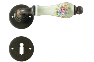 Round Paris Galbusera Door Handle with Rosette and Escutcheon Plate