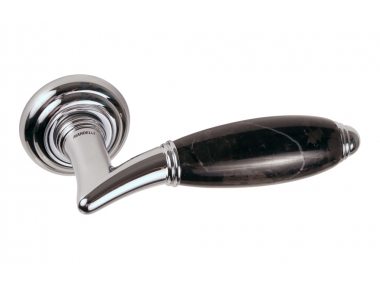 Paros Door Handle on Rosette in Black Marble Marquiña Made in Italy by Mandelli1953