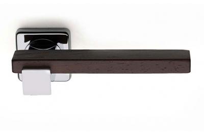 Plus Line Wenghe Wood Door Handle on Square Rosette Fashion Line PFS Pasini
