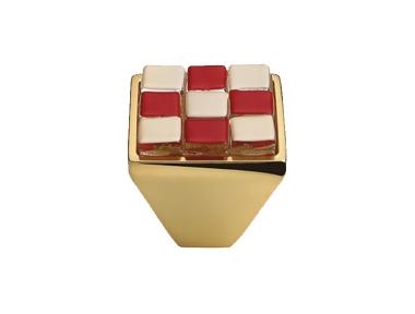 Cabinet Knob Linea Calì Crystal Brera Chess PB 28 OZ White Red Glass Insert