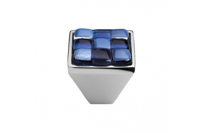 Cabinet Knob Linea Calì Crystal Brera Chess PB 30 CR White Blue Glass Insert