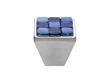 Cabinet Knob Linea Calì Crystal Brera Chess PB 30 CS White Blue Glass Insert