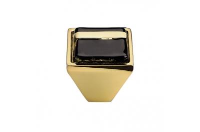 Cabinet Knob Linea Calì Crystal Brera Linear PB 20 OZ Black Glass Insert