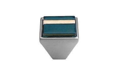 Cabinet Knob Linea Calì Crystal Brera Linear PB 31 CS Blue Glass Insert
