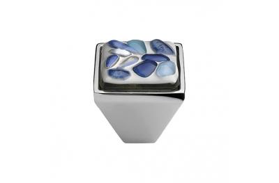 Cabinet Knob Linea Calì Crystal Brera Stone PB 27 CR Blue Glass Insert