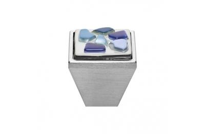 Cabinet Knob Linea Calì Crystal Brera Stone PB 27 CS Blue Glass Insert