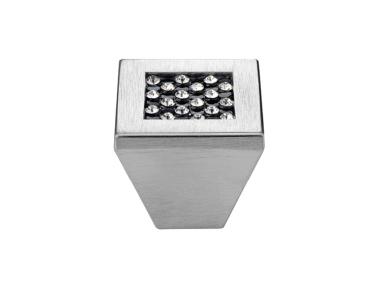 Cabinet Knob Linea Calì Mesh Crystal PB with Black Swarowski® Polished Chrome