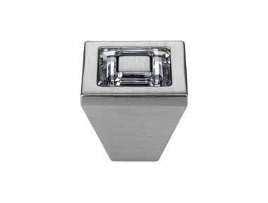 Cabinet Knob Linea Calì Ring Crystal PB with Swarowski® Satin Chrome