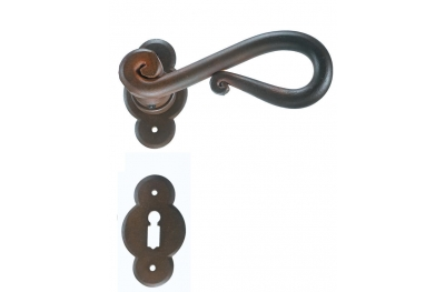 Rome Galbusera Door Handle with Rosette and Escutcheon Plate