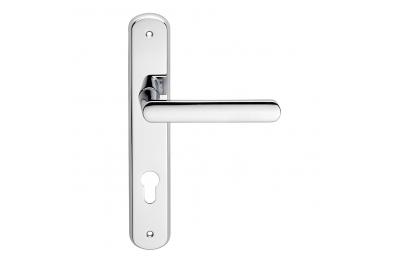 Solis Series Fashion forme Door Handle on Plate Frosio Bortolo Satin Chrome