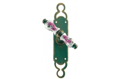 Wien Galbusera Window Handle with Plate Porcelain and Wrought Iron