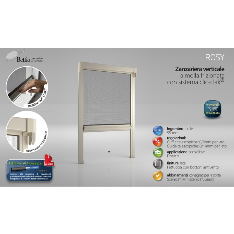 Mosquito Net Bettio Rosy Spring rubbed Click-Clack and Guides Vertical Spring