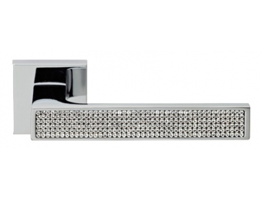Zen Mesh Polished Chrome Door Handle on Rosette Linea Calì Crystal