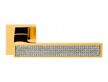 Zen Mesh Gold Plated Door Handle on Rosette Linea Calì Crystal